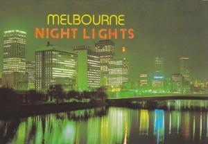 Night lights reflect in Yarra River, Melbourne, Australia, 1970-80s