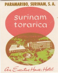 Surinam Paramaribo Torarica Hotel Casino Vintage Luggage Label lbl0137