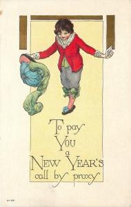 New Year Call by Proxy~ART DECO~Flamboyant Thespian Takes a Bow~Embossed~NY-99