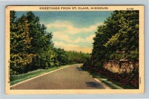 St. Clair MO, Scenic View Street View, Missouri Linen C1957 Postcard
