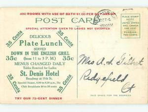 Divided-Back COLONIAL DINING ROOM RESTAURANT Manhattan - New York NY u9684