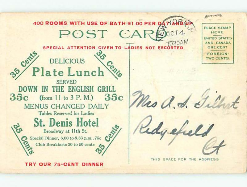 Divided-Back COLONIAL DINING ROOM RESTAURANT Manhattan - New York NY u9684