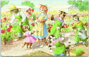 Artist-Signed ALFRED MAINZER Postcard Cats / Garden BUFFALO GROVE MALL Illinois