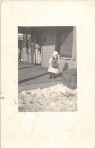 B26/ Mansfield Ohio Postcard Real Photo RPPC 1917 Child Mother Winter Porch