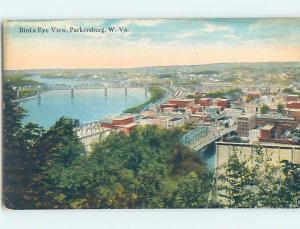 Unused Divided-Back AERIAL VIEW OF TOWN Parkersburg West Virginia WV F9041
