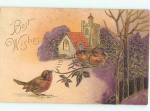 Pre-Linen CUTE BIRDS ON THE BRANCH BY THE CHURCH AC4107