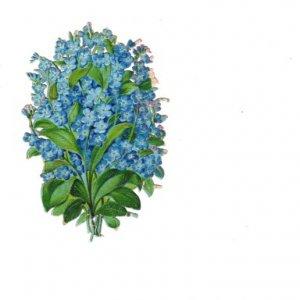 Vintage Victorian Paper Scrapbook Decals,  Blue Flowers