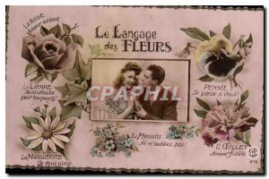 Old Postcard The Language of Flowers Woman