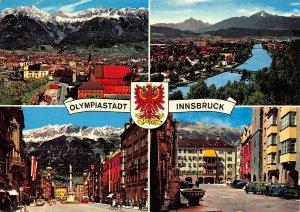 Olympiastadt Innsbruck Tirol Golden Roof Fountain Bridge Castle Cars Postcard