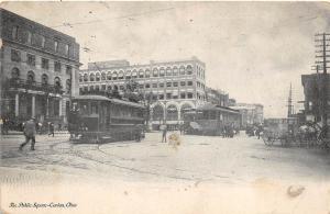 A39/ Canton Ohio Postcard Stark County c1905 The Public Square Trolley Line