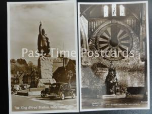 2 x Old RPPC - WINCHESTER: KIng Arthur's Round Table & King Alfred Statue