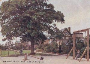 Bourneville Village Childrens Swings Playground Warkwickshire Postcard