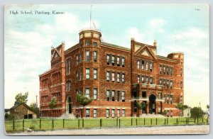 Pittsburg KS~Hitching Posts?~What Great Towers & Gables @ High School!~1910 PC