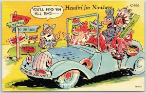 1940s RAY WALTERS Comic Postcard Headin' For Nowhere Curteich Linen #C-666