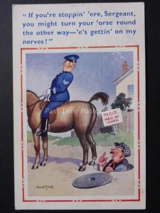 Donald McGill Comic PC: Police on Horse IF YOU'RE STOPPIN ERE SERGEANT No.1632