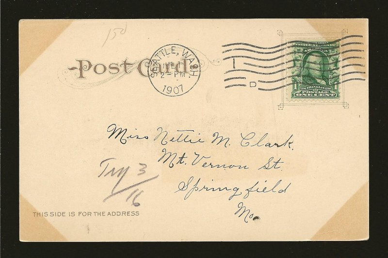 USA Postmark 1907 Seattle Wash Steamship MINNESOTA on Puget Sound Postcard