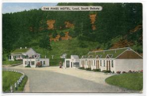 The Pines Motel Highway 85 Lead South Dakota linen postcard