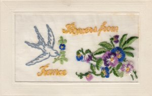 Hand Sewn; Sparrow flying, Pansies, Flowers from France, 00-10s