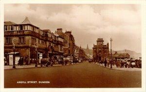RPPC Argyll Street Dunoon Scotland Old Automobiles Unused Real Photo Postcard