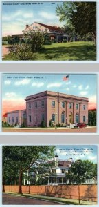 3 Postcards ROCKY MOUNT, N.C. ~ Country Club, Battle Home, Post Office c1940s