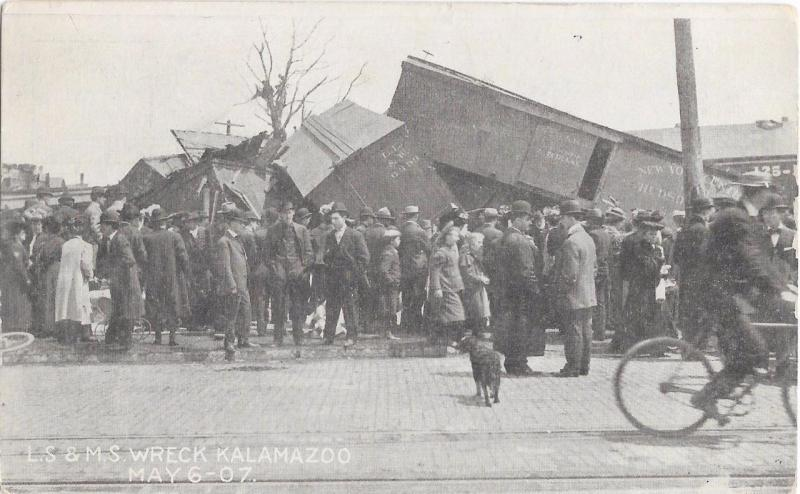 Wreck - L. S. & M. S. Railroad Crash - Kalamazoo Michigan May 6 1907 Postcard