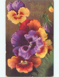 Unused Pre-Linen BEAUTIFUL PURPLE AND ORANGE PANSY FLOWERS J2768