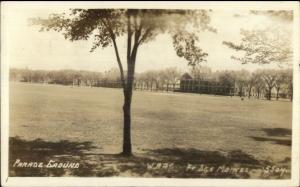 Ft. Des Moines IA Parade Grounds Real Photo Postcard WWII ERA FROM SOLDIER