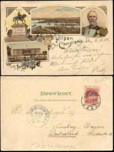 norway, CHRISTIANIA, Multiview, King Oscar II (1901)
