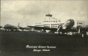 Chicago IL Municipal Airport Airplanes Real Photo Postcard