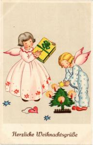 CPA Angels with Presents and a Little Christmas Tree ANGELS (777418)