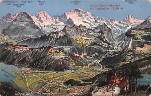Switzerland Old Vintage Antique Post Card Berner Oberland mit Harderkulm 1957
