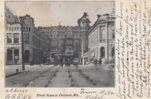 OSHKOSH , Wisconsin, PU-1906; Street Scene, Trolleys