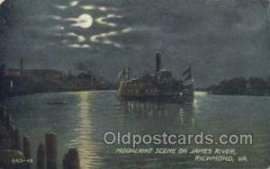 Moon Light Scene On James River Ferry Boats, Ship, Ships, Postcard Post Cards...
