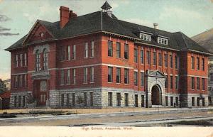 Anaconda Montana High School Exterior Street View Antique Postcard K27265
