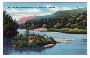Antique 1930-1945 Winooski River & Mountain Range Green Mts. VT Vermont Linen