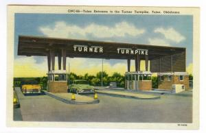 Tulsa Entrance to the Turner Turnpike, Tulsa, Oklahoma unused Curteich linen PPC