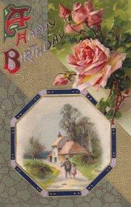 Vtg Postcard John Winsch Happy Birthday Silk Gilded Embossed Unused