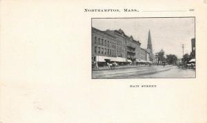 Northampton Massachusetts~Main Street~Horse & Buggies~Trolley~1903 PMC Postcard