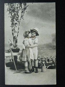Greeting GARDENING THEME Children with Rake & Watering Can c1914 Postcard