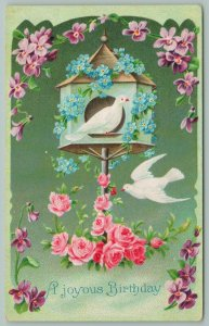 Greetings~White Doves~Hexagon Birdhouse~Blue Forget-Me-Nots~Pink Roses~Germany