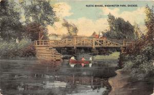 Chicago IL~Washington Park-Horseback Rider on Rustic Bridge~Ladies in Boat~1913