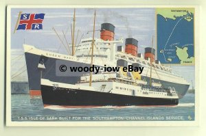 f0058 - Southern Railways Ferry Isle of Sark & Cunard Liner Queen Mary  postcard