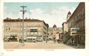 Vintage Postcard Fiume Via Del Molo Italy Croatia Pre Free State