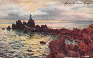 La Corbiere Jersey UK Lighthouse Scenic View Antique Postcard K30926