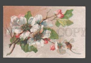 086432 APPLE Tree Flowers w/ BEE UnSign KLEIN vintage Rus PC