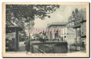 Postcard Epinal Old Bridge and Canal Nations Grands Moulins