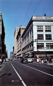 Louisville Kentucky~Fourth Street~Davidson's~VW Beetle~Walgreens~1950s Postcard
