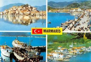 Turkey Marmaris Harbour Fishing Boats Promenade General view