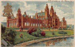 Art Galleries, Glasgow, Scotland, Great Britain, 1925 embossed postcard, used