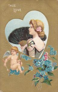 Valentine's Day Cupid With Beautiful Girl Holding Fan